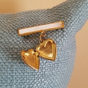 ANTIQUE Heart Mother of Pearl Brooch Locket,Adorbs